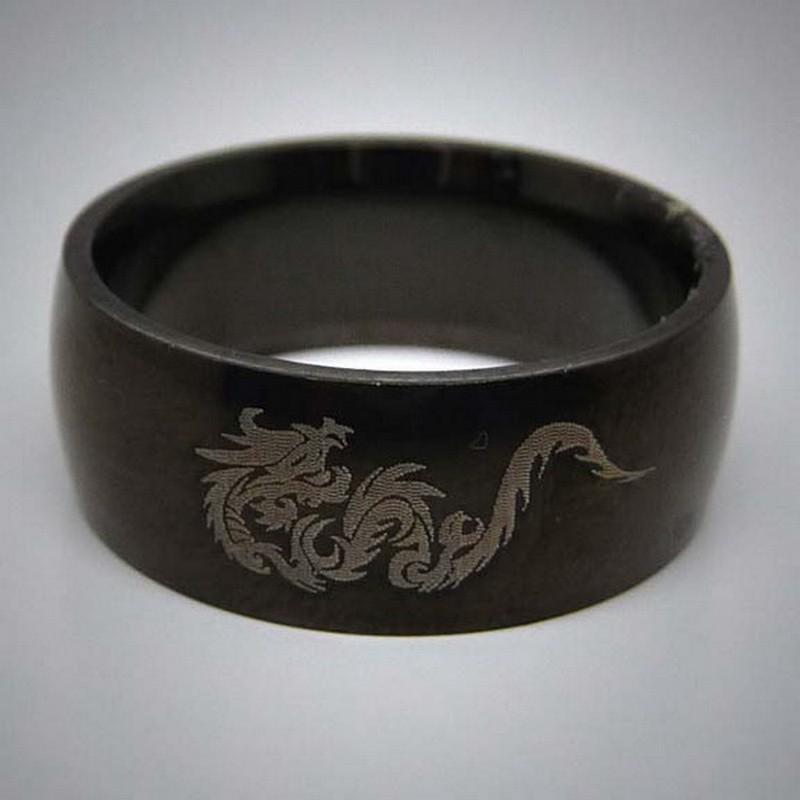 STR044 Ringe aus Edelstahl Schwarz Drache