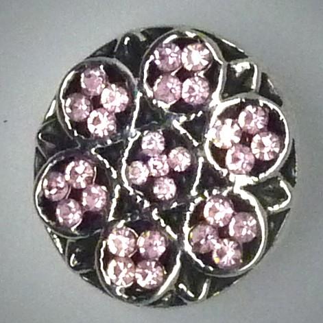 CH137  Schmuck Druckknöpfe Blumen steine rosa
