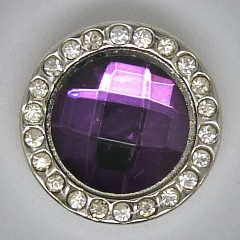 CH249 - Schmuck Druckknöpfe, fasetierter violet Stein u. Glitzerrand