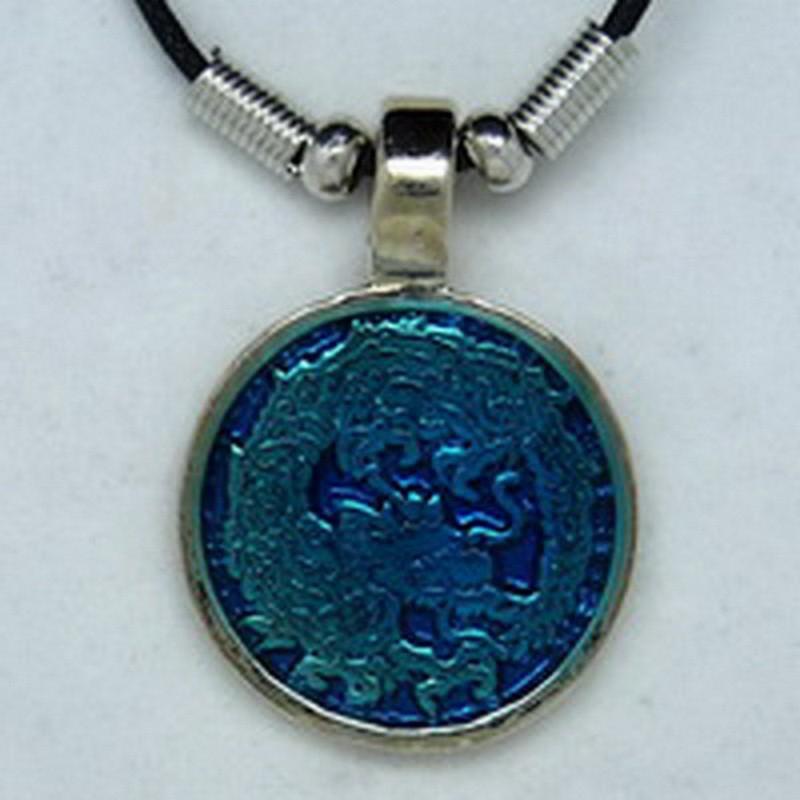 MK041 Ketten Drache Medalion blau