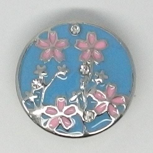 CH021 - Schmuck Druckknöpfe Blumen rosa mit Steinchen