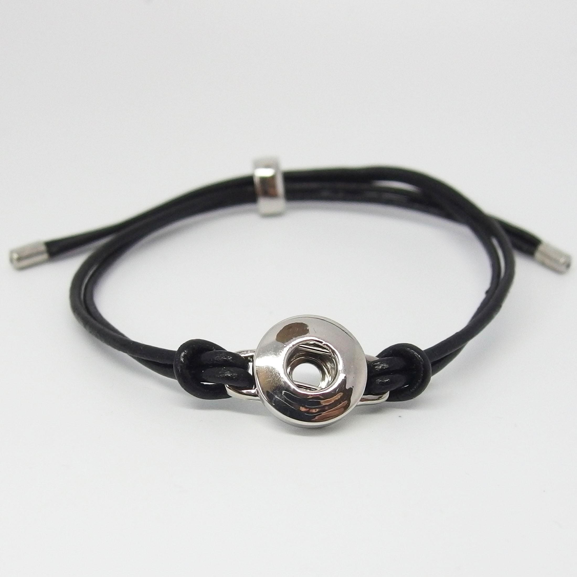 CHMA001 - Armbänder echt Leder verstellbar für 1 MINI Schmuckdruckknopf