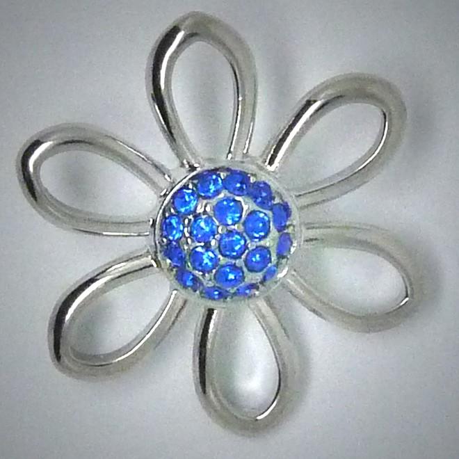 CH088  Schmuck Druckknöpfe Blume gr. blau