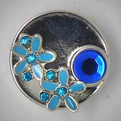 CH080 - Schmuck Druckknöpfe aufgesetzte Blüten blau