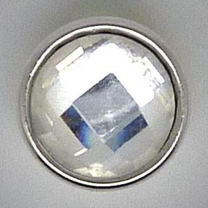CHM116 - MINI Schmuckdruckknöpfe facetierter Stein weiss