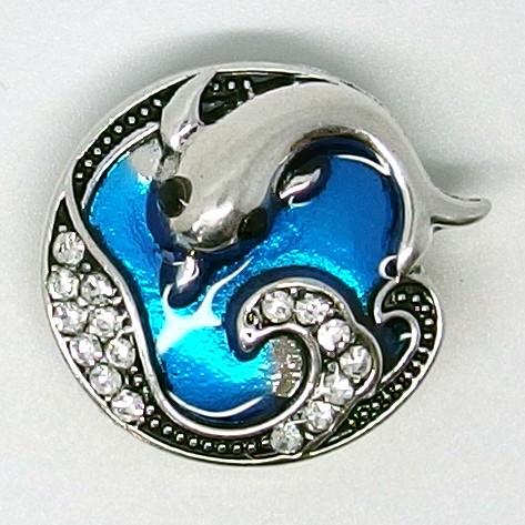 CH001a – Schmuck Druckknöpfe Delfin mit Steinen
