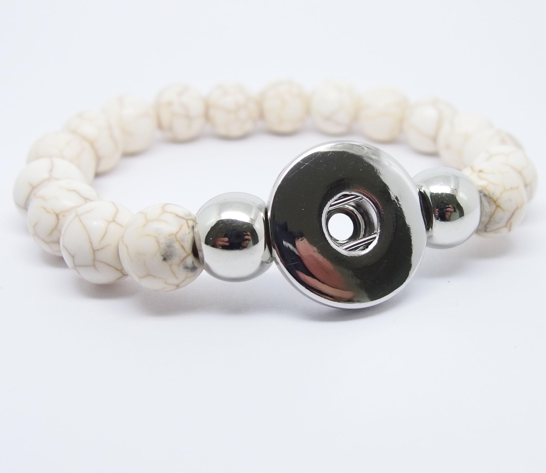 CHA003b - Armbänder für Schmuck Druckknöpfe Perlen beige