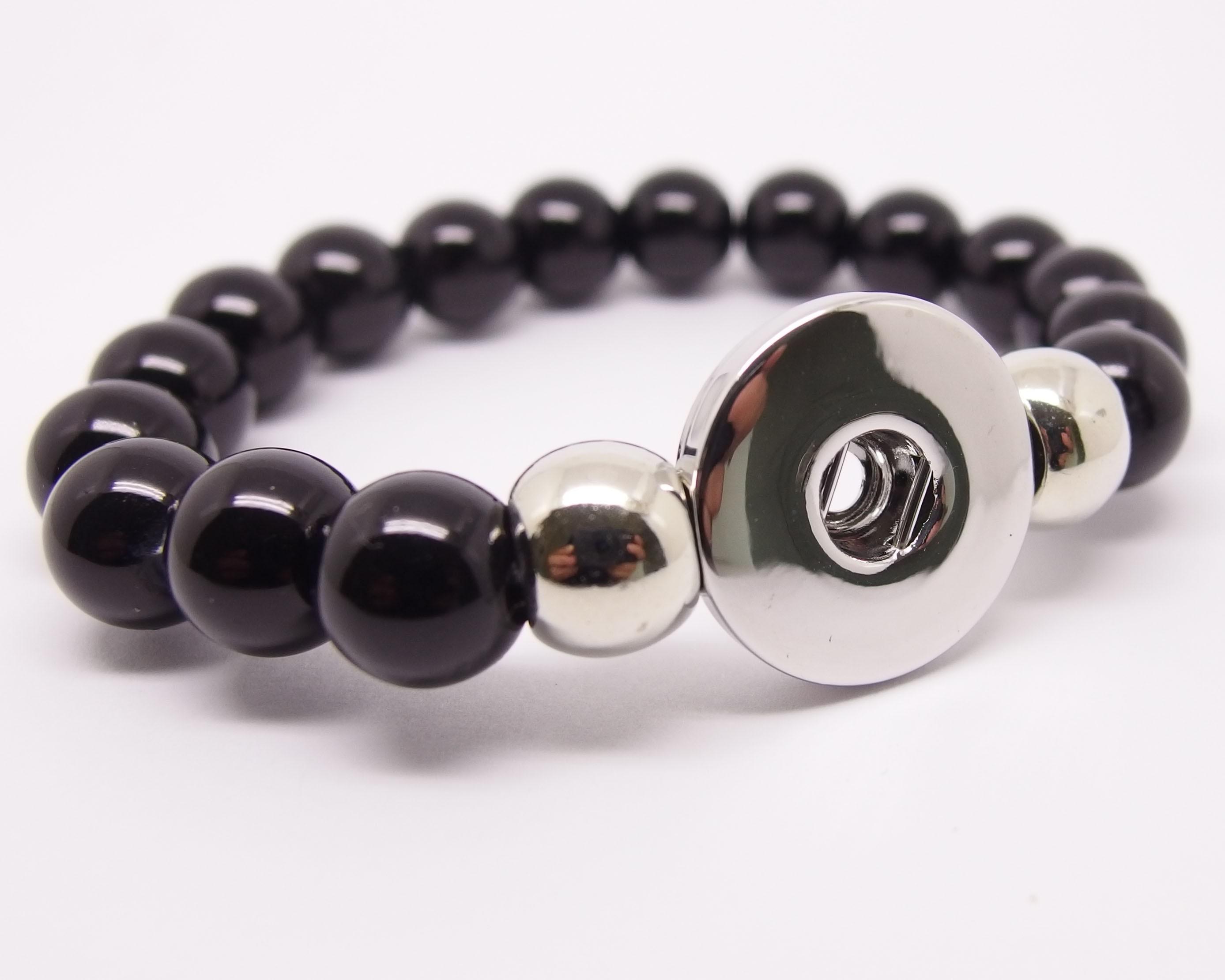 CHA003 - Armbänder für Schmuck Druckknöpfe Perlen schwarz