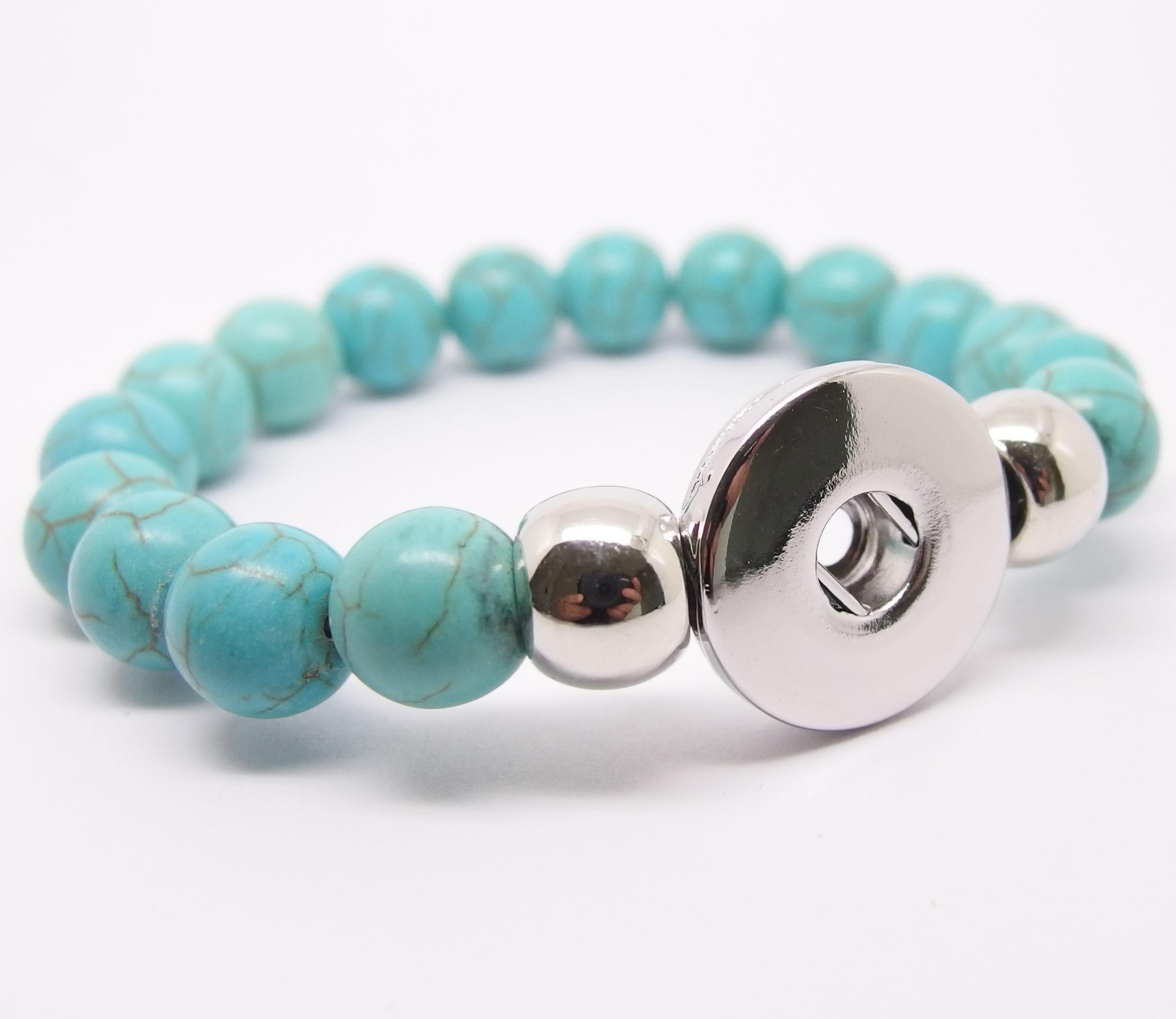 CHA003t - Armbänder für Schmuck Druckknöpfe Perlen türkis