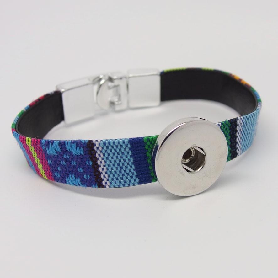 CHA012c - Armbänder für Schmuckdruckknöpfe ethno blau