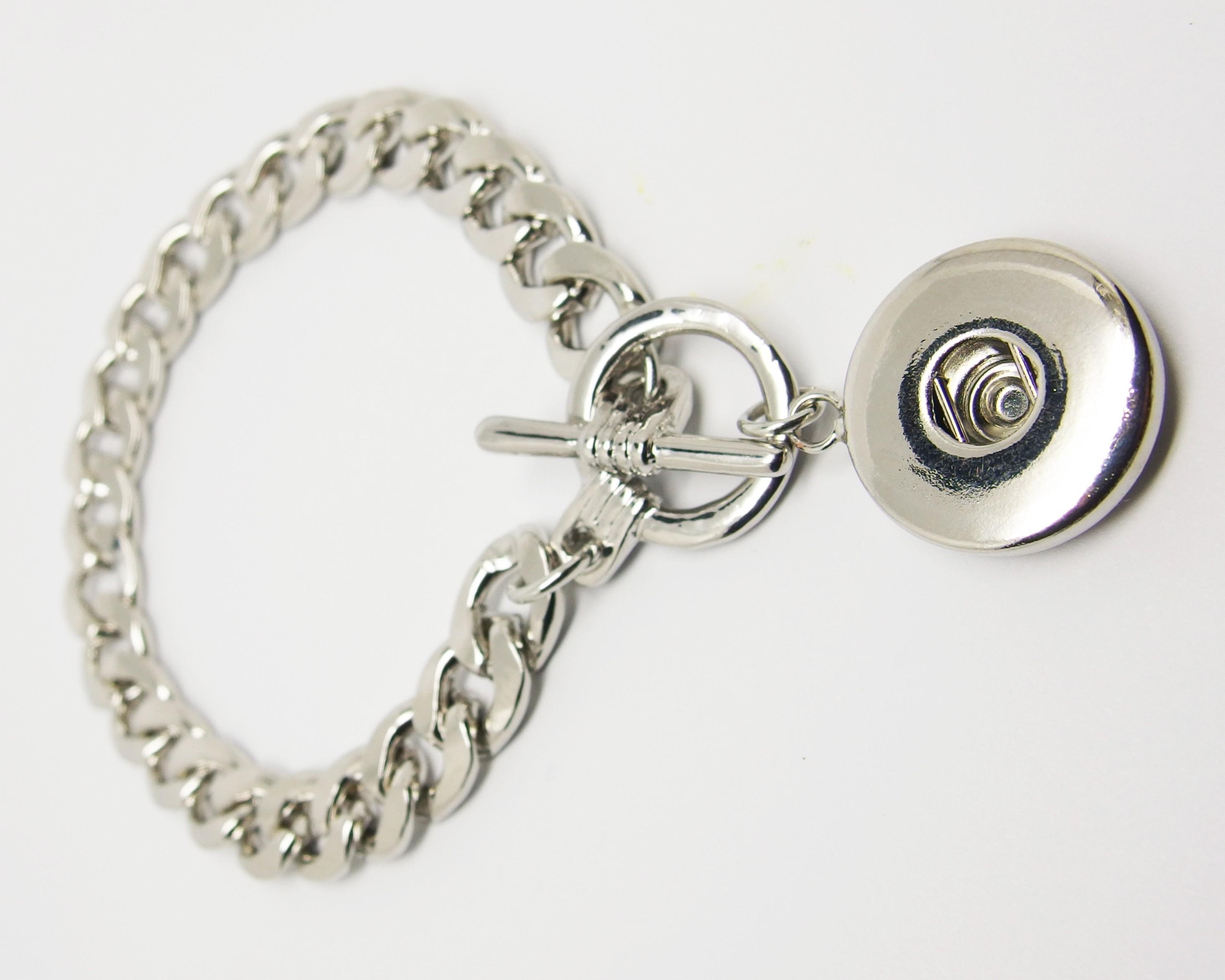 CHA010 - Breite Gliederarmbänder für Schmuck Druckknöpfe m. Knebelverschluss