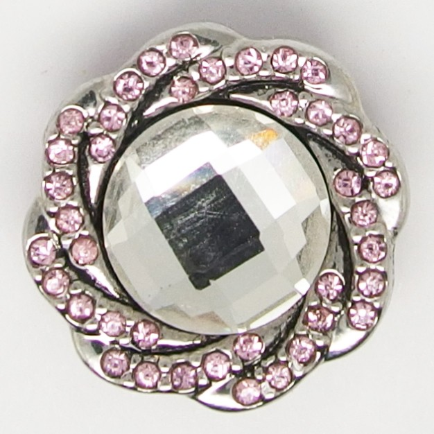 CH111a- Schmuck Druckknöpfe rosa Blüte glizernder Rand