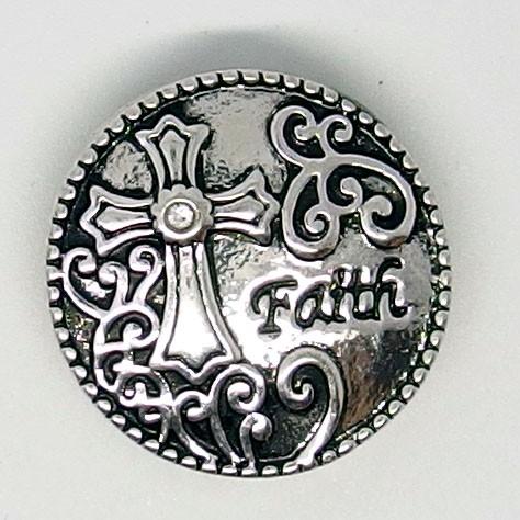 CH072a - Schmuck Druckknöpfe Kreuz faith (Glaube)