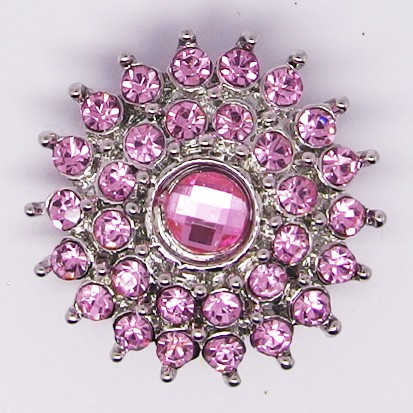 CH253a - Schmuck Druckknöpfe, Blüte viele Steine rosa