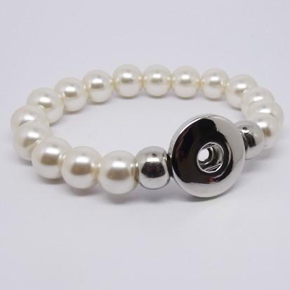 CHA003p - Armbänder für Schmuck Druckknöpfe Perlen perlmutt weiss
