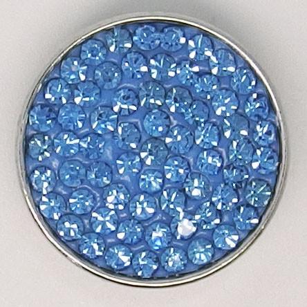 CH038a - Schmuck Druckknöpfe viele Steine hell blau