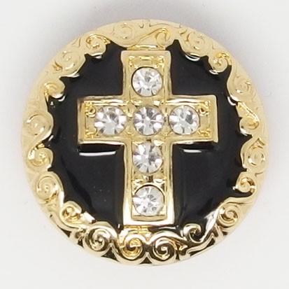 CH096a - Schmuck Druckknöpfe Kreuz gold schwarz