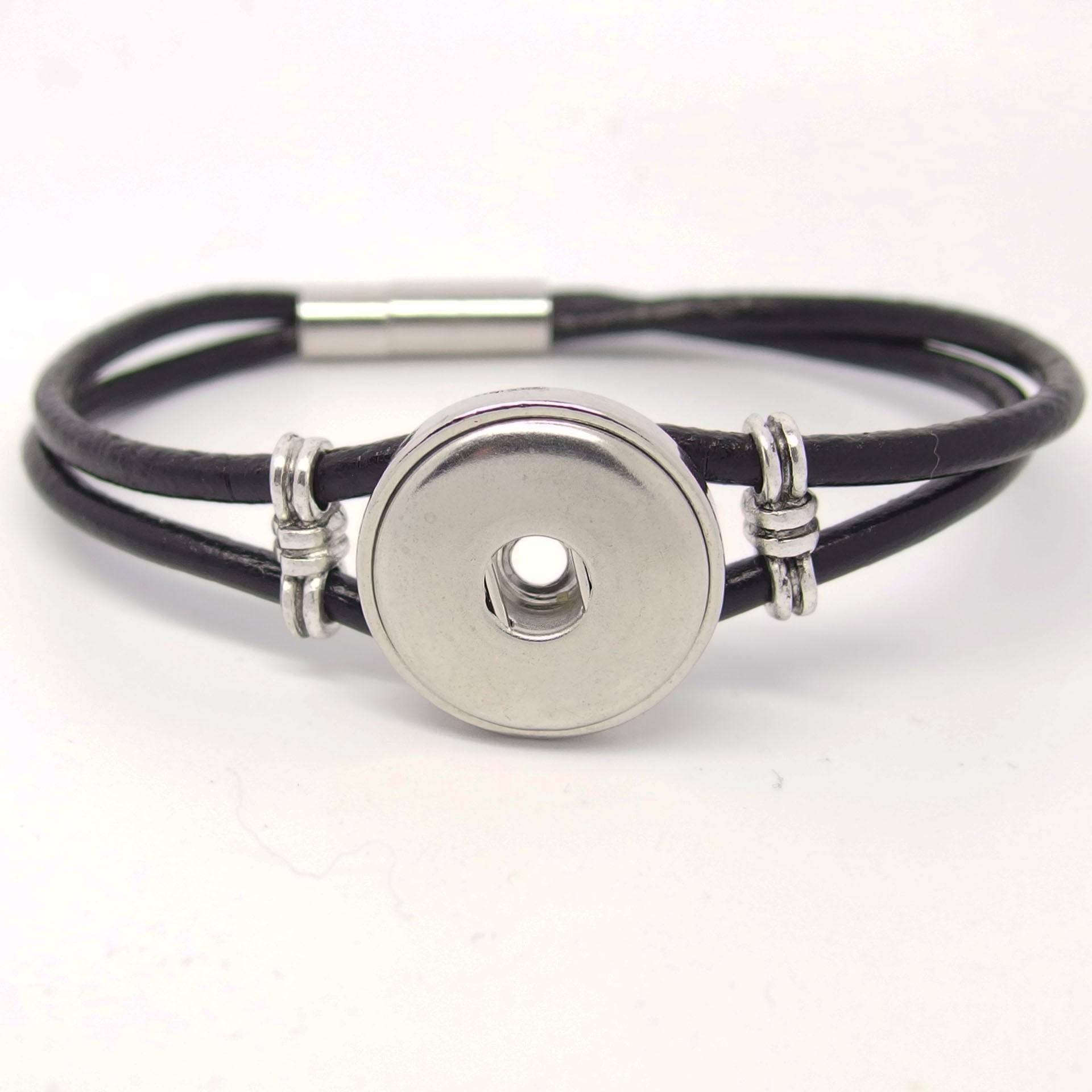CHA006 -Echt Leder Armbänder für 1 Schmuck Druckknopf schwarz