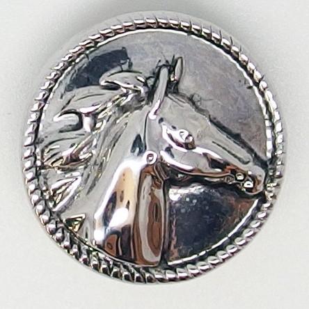 CH114 - Schmuck Druckknöpfe Pferdekopf silber