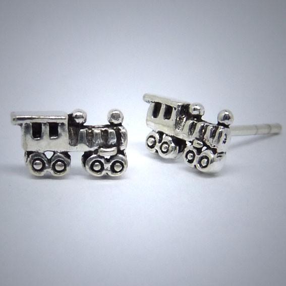 OS054 Ohrstecker aus Silber Lokomotive