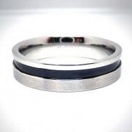 STR002 Ringe aus Edelstahl Ring m. schwarzem Streifen