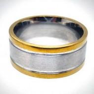 STR007 Ringe aus Edelstahl Bicolor mittelstreifen in matt, aussenstreifen gold