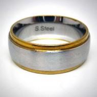 STR008 Ringe aus Edelstahl Bicolor mittelstreifen in matt, aussenstreifen gold