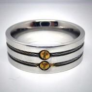 STR010 Ring aus Edelstahl mit 2 Stahlbändern und goldenen Schrauben