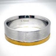 STR011 Ringe aus Edelstahl maat m. schmalem Goldstreifen