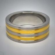 STR013 Ringe aus Edelstahl glänzend mit 2 schmalen Goldstreifen