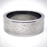 STR028 Ringe aus Edelstahl Tribal matt