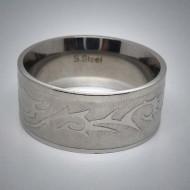 STR034 Ringe aus Edelstahl Tribal glänzend und matt