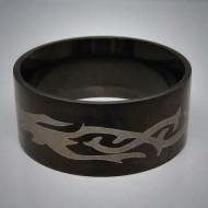 STR040 Ringe aus Edelstahl Schwarz Tribal