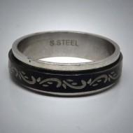 STR067 Ringe aus Edelstahl schwarz ranke beweglich