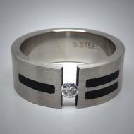 STR074 Ringe aus Edelstahl durchbrochen m. 1 Stein u. schwarzen streifen