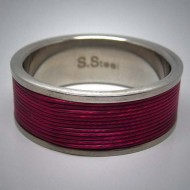 STR078 Ringe aus Edelstahl m. rotemEdelstahlseil umwickelt