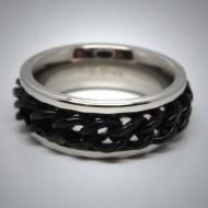 STR081 Ringe aus Edelstahl beweglich m. Kette schwarz