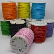 BW006 10 Farben gewachstes Baumwollband 1mm