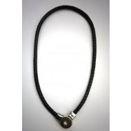 CHK016 - Ketten für Schmuck Druckknöpfe aus Leder schwarz
