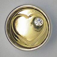 CHM082 - MINI Schmuckdruckknöpfe Herz messing mit Steinchen