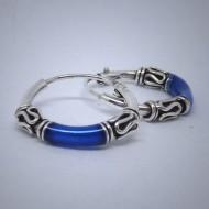CR001 Creolen aus Silber (Bali) blau