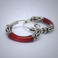 CR003 Creolen aus Silber (Bali) rot
