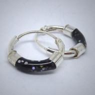 CR010 Creolen aus Silber schwarz mit Glitzer