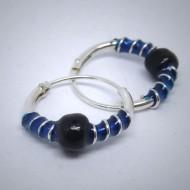 CG011 Creolen aus Silber Kugel schwarz Spirale blau
