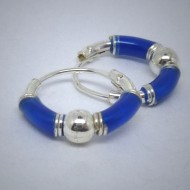 CR021 Creolen aus Silber blau u. Kugel