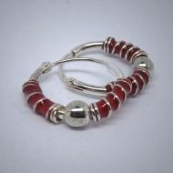 CR027 Creolen aus Silber rot mit Kugel u. Spirale