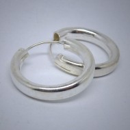 CR046 Creolen aus Silber schlicht dick oval