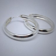 CR047 Creolen aus Silber schlicht breit leicht