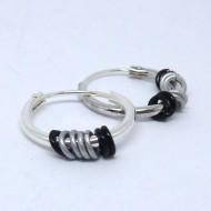 CR075 Silber Creolen mit Ringen in grau + schwarz 14mm