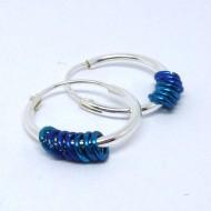 CR076 Silber Creolen mit Ringen in blau + türkis 14mm